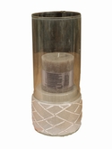 Indoor Pottery Candleholder winter gray 2 glass