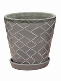 Indoor Pottery Planter lattice cool grey 2 (with saucer)