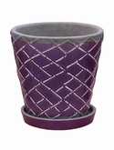 Indoor Pottery Planter lattice dusky orchid (with saucer)