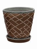 Indoor Pottery Planter lattice monks robe (with saucer)