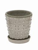 Indoor Pottery Planter macassar cool grey 2 (with saucer)