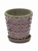 Indoor Pottery Planter macassar dusky orchid (with saucer)